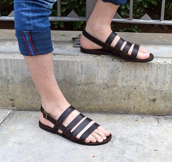 df195b6926b Leather sandals men  Slide leather sandals  Slide men sandals  Men leather  sandals  Men sandals  2018 sandals  Gift for him  Gift for men