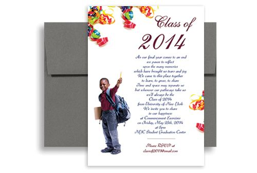 2014 5th grade elementary graduation invitation example 5x7 in vertical