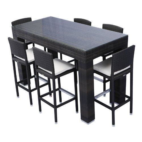 Source Outdoor Bar Height Patio Dining Set Seats 6 By 4545 00