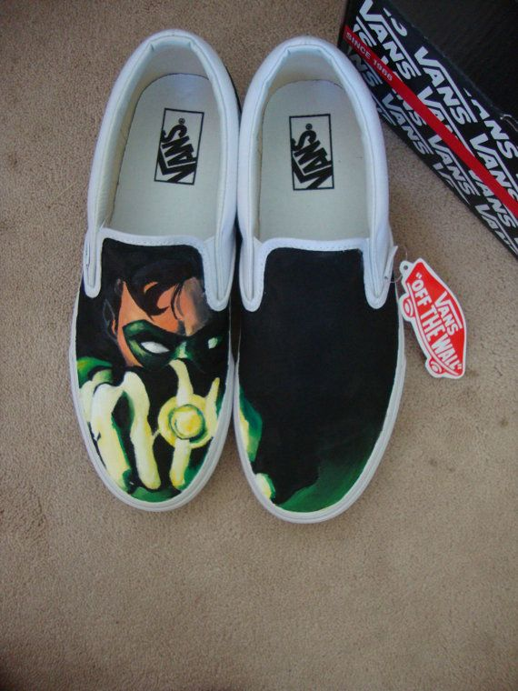 6b777458ae Green Lantern Hand Painted Vans by JoelleColleen on Etsy