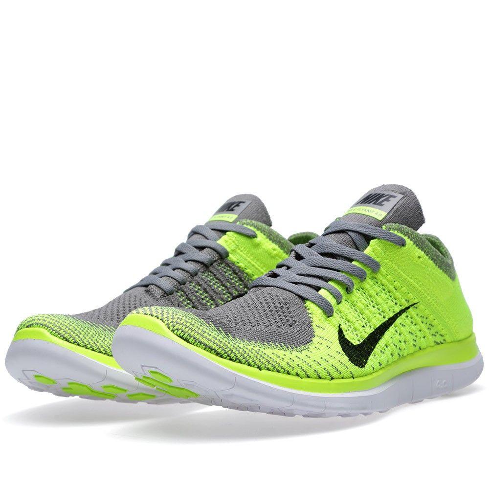 Femmes Nike Free 4.0 Gris Chaussure De Course / Turbo Vert / Blanc Légendaire
