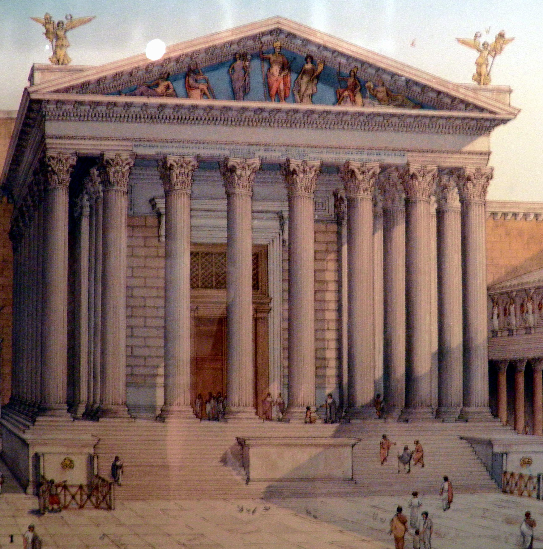 Restored View Of Mars Ultor Temple In Rome Very Typical Roman Temple Forum Of Augustus Dates Roughly Th Imperio Romano Arquitetura Antiga Arquitetura Grega