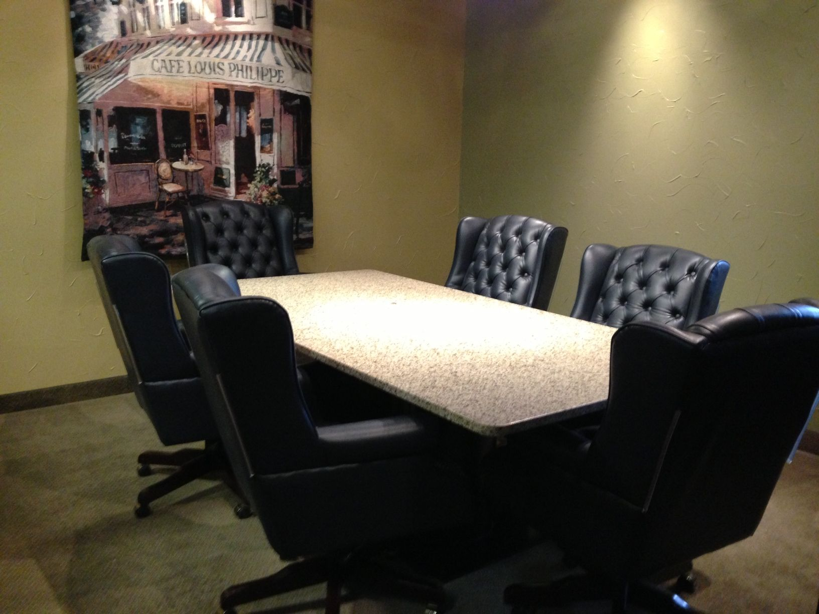 Check Out This Great Conference Room! With A Beautiful Granite Table Top,  Navy Leather