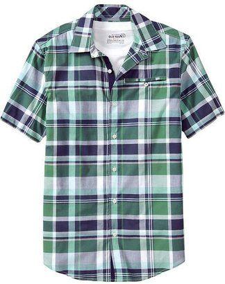 ShopStyle: Men's Plaid Pocket Short-Sleeved Shirts | Green Shirts ...