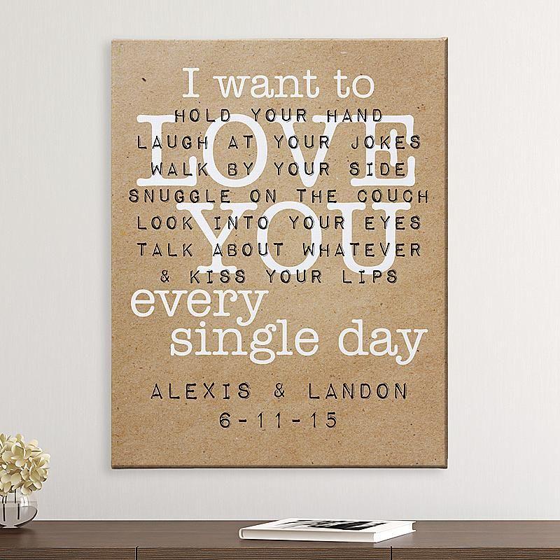Nice Wedding Gift Ideas: Love You Every Single Day Canvas