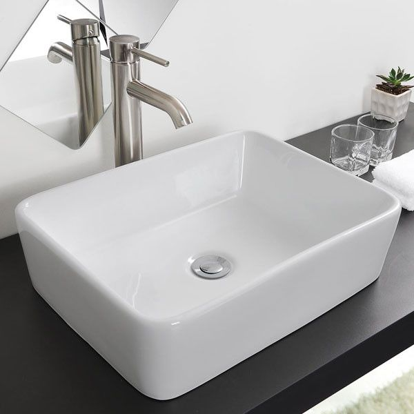 Aquaterior Rectangular Vessel Bathroom Porcelain Sink W Drain Ceramic Bathroom Sink Porcelain Sink Vessel Sink Bathroom