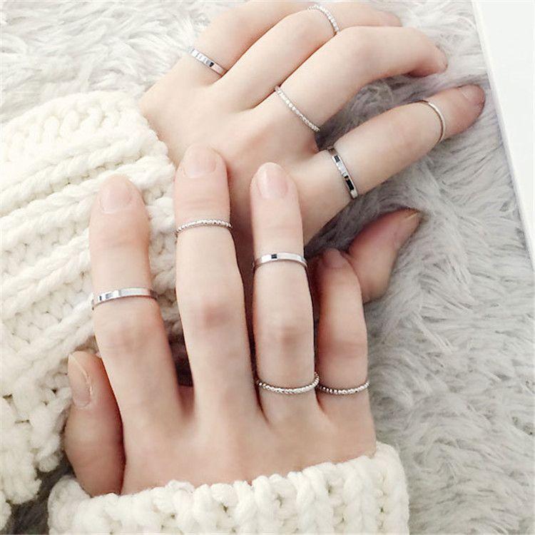 10PCS/SET Fashion Simple Design Vintage Gold Silver Rings | Pretty Accessories – A L L A B O U T T H E A C C E S S O R I E S