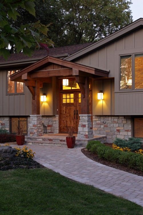 Modern Exterior Home Design Ideas Remodels Photos: Front Porch Design, Traditional Exterior, Ranch Remodel