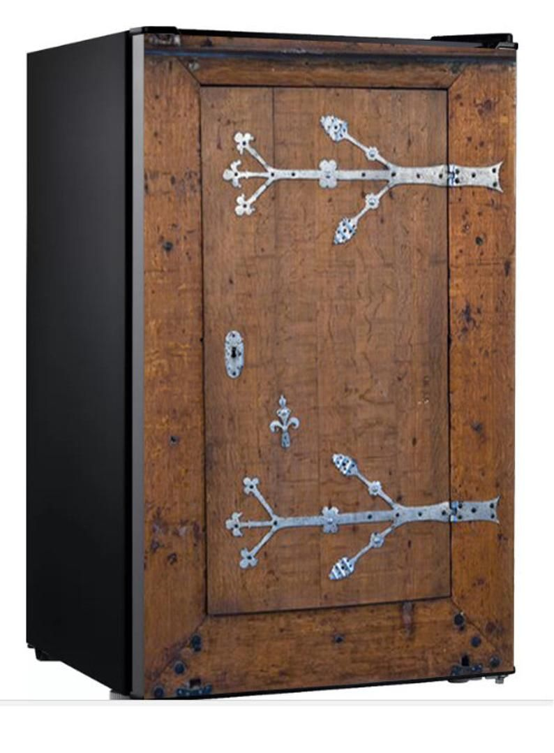 Photo of Mini-Fridge Vinyl Sticker ***Old Wooden Door*** / Self-Adhesive Vinyl Refrigerator Decal / Fridge Wraps / Refrigerator Wrap