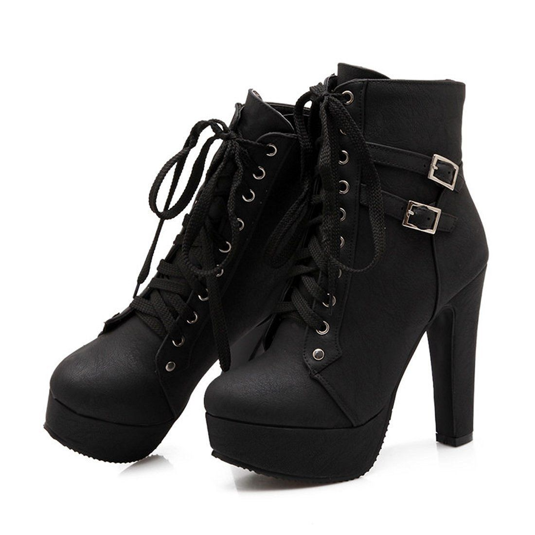 Women's Stylish Buckled Straps Lace up Round Toe Block High Heel Platform Short Boots