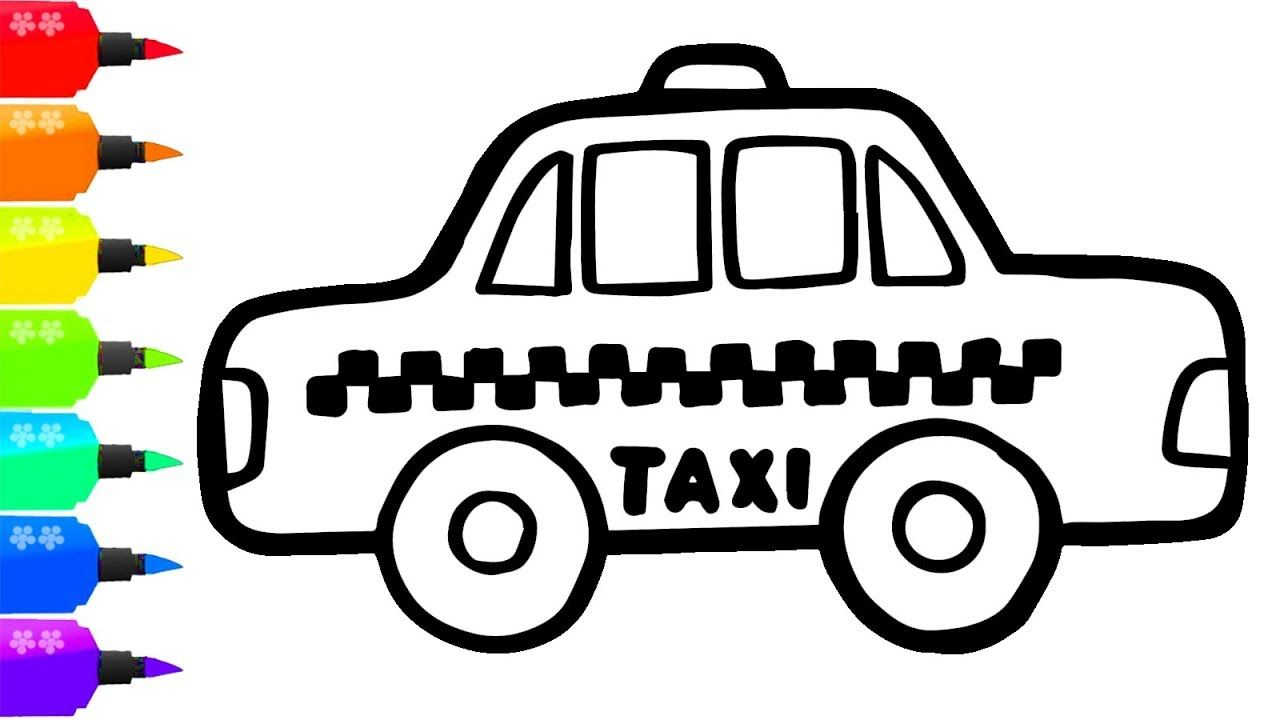 How To Draw A Taxi For Kids Painting For Toddlers And Drawing