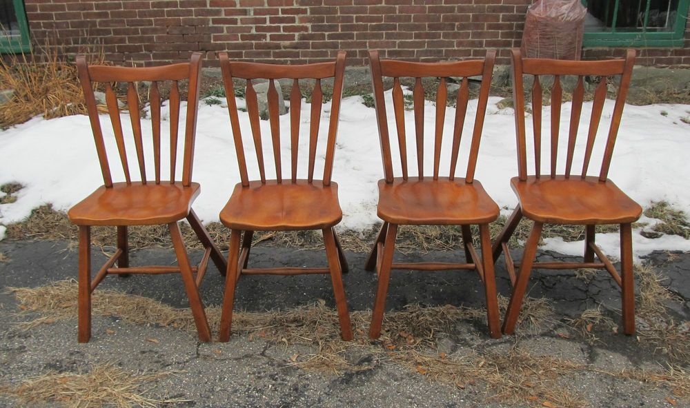 4 Vintage Cushman Colonial Maple Arrow Back Dining Kitchen Chairs
