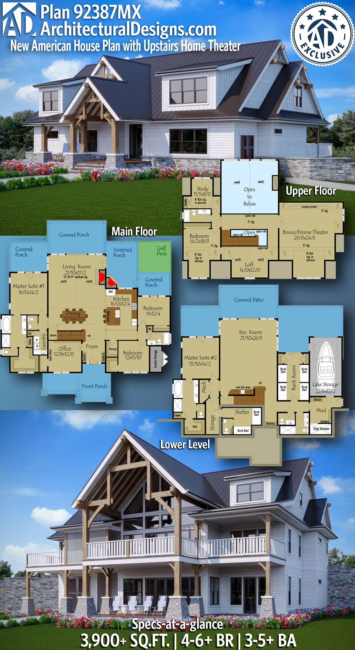 Plan 92387mx New American House Plan With Upstairs Home Theater Carriage House Plans Home Design Floor Plans House Blueprints
