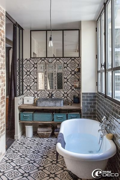 http://www.honeysucklelife.com/wp-content/uploads/2013/01/Spanish -Style-Black-Bathroom-Tile.jpg | m casa | Pinterest | Spanish style,  Bathroom tiling and ...