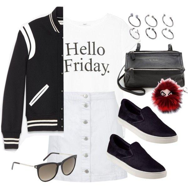 Look estiloso preto e branco .T-shir , saia com botões frontais , tênis slip on e jaqueta varsity.