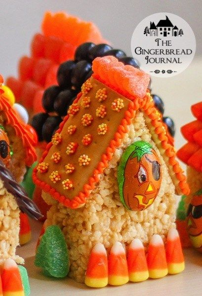Mini Halloween Houses – a No-Bake Treat #crispytreats