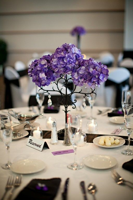 purple wedding reception centerpieces with hydrangea and candelabra rh pinterest com Pink Centerpieces for Wedding Receptions Centerpieces for Wedding Receptions