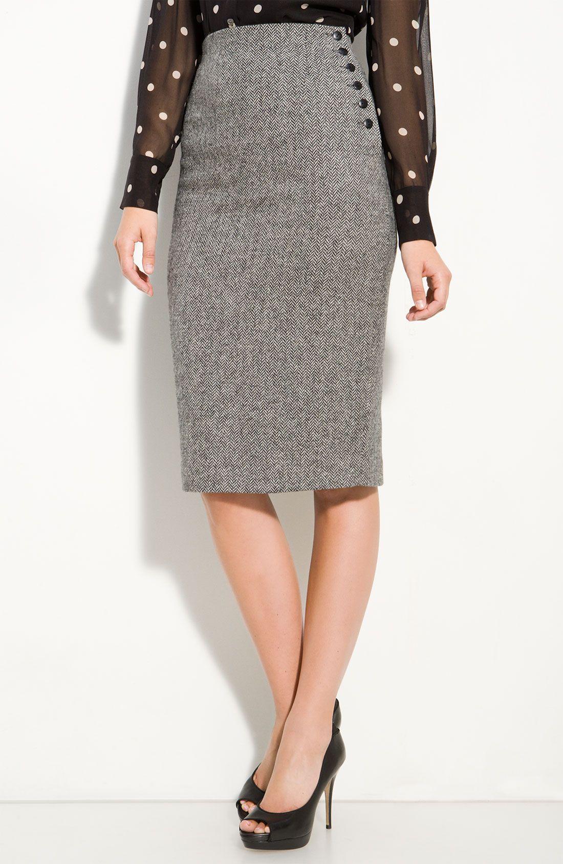 c1cfe417d Great High Waist Wool Tweed Pencil skirt, love the button detail and  length. Super cute with polka dot dress shirt.