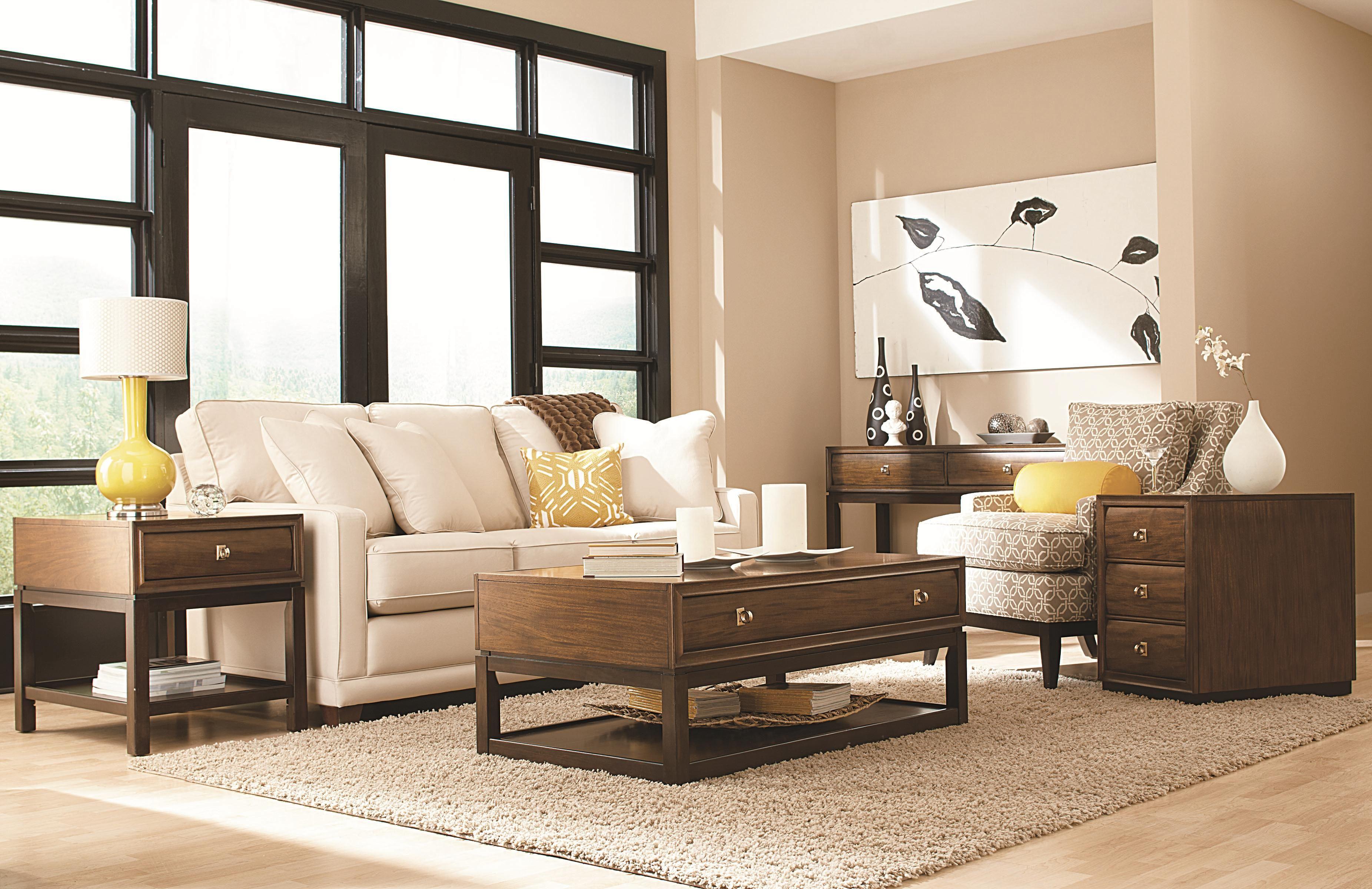 American Drew Miramar Rectangular Drawer End Table With Bottom Open Shelf    Missouri Furniture   End