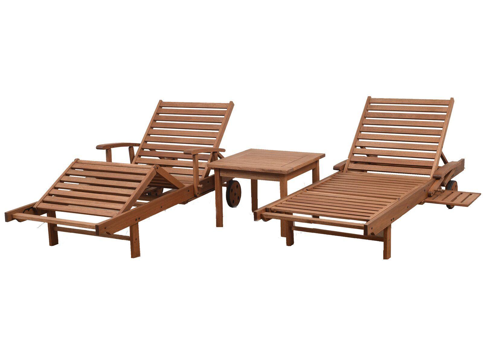 Newbury Patio 3 Piece Single Reclining Chaise Lounge Set Teak