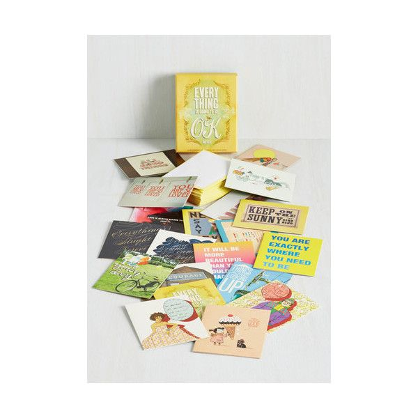 Chronicle Books Everything Is Going To Be OK Notecard Set ($15) ❤ liked on Polyvore featuring home, home decor, stationery, home accessory, multi and office