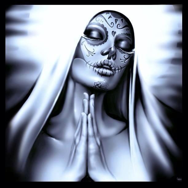 Sugar Skull, B&W, Praying Hands,