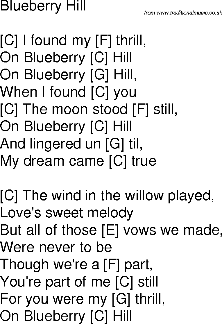 Old Time Song Lyrics With Chords For Blueberry Hill C Musuc In