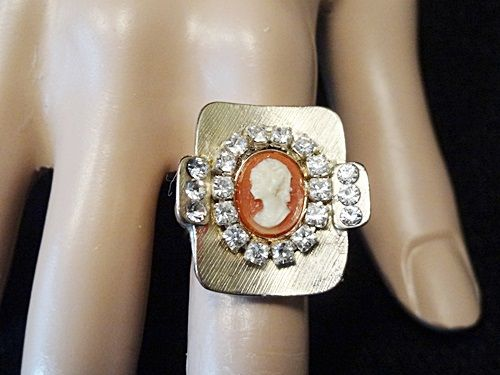 Vintage Ring Real Cameo Carved Conch Shell Rhinestone Adjustable Gold Tone By VintElegance.com
