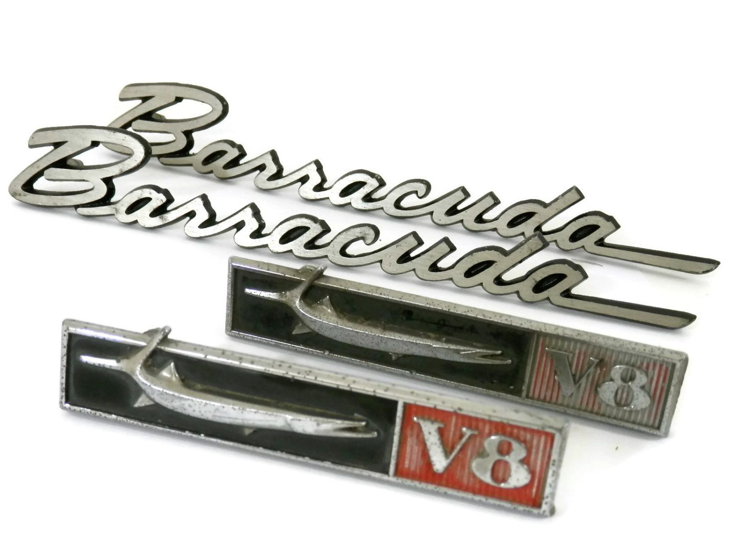 1967/68 Plymouth Barracuda V8 Car Emblem 4 Pc Set