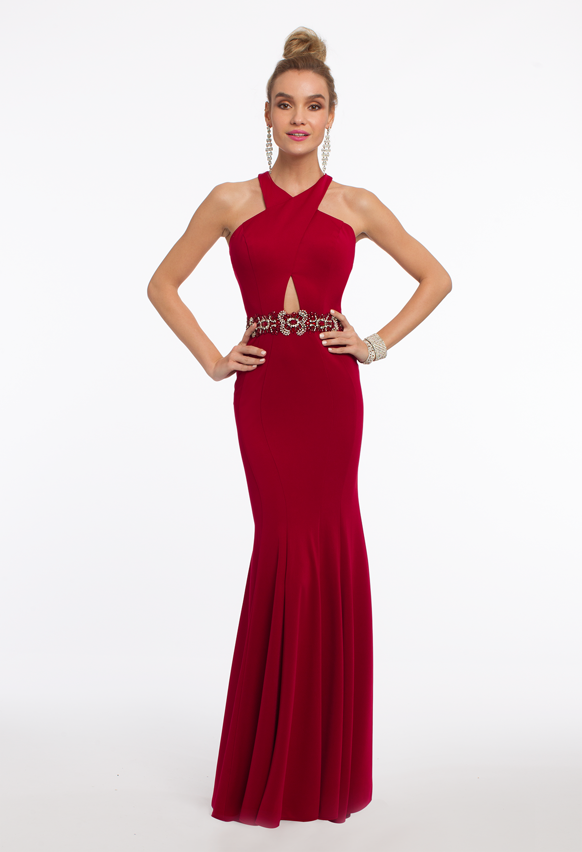Flaunt Your Features In This Upscale Long Evening Dress The Sheath Style Criss Cross Halter Neckline Beaded Waistb Dresses Guest Dresses Wedding Guest Dress [ 1732 x 1184 Pixel ]