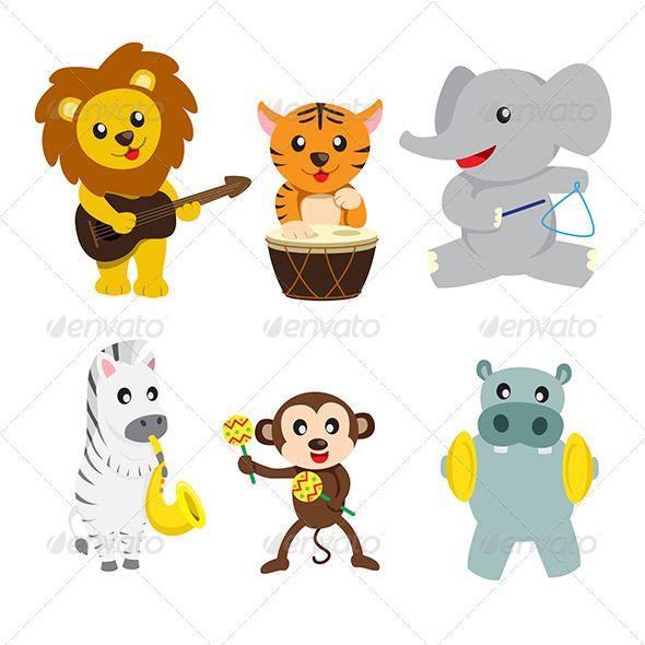 Animals Playing Music Animals Wild Music Baby Showers Music Illustration