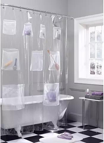 Amazon Com Shower Curtain With Storage Pockets Vinyl Shower