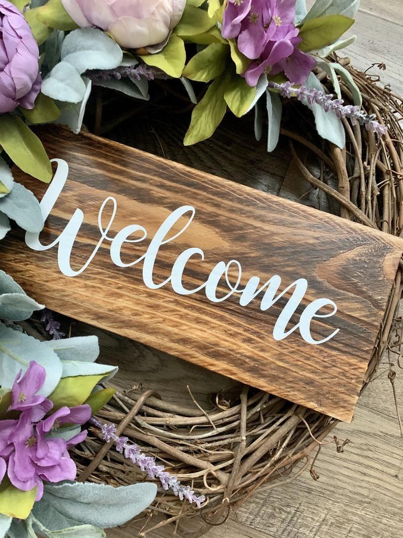 Photo of Grapevine Wreath, Lambs Ear Wreath, Welcome Wreath, Door Wreath, Spring Wreath, Front Door Wreath