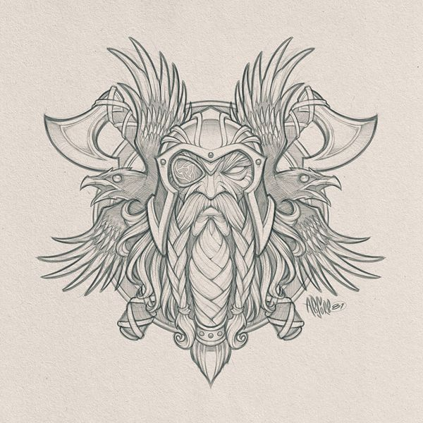 ef6a2ad5e7ca4 Odin's Ravens // Pencils for a cool collaboration project in the works. # odin #viking #god #axe #raven #birds #wings #pencils #sketch #design #art  #absorb81