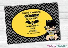 First Birthday Batman Invitation Babys 1st Birthday Party Invites