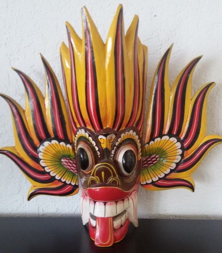 Vintage BALI INDONESIA Hand Carved Painted Wood WALL MASK