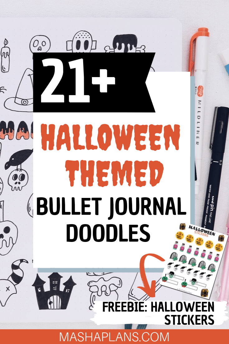 21+ Halloween Bullet Journal Doodles #halloweenbulletjournal Ready to rock your October Bullet Journal setup? Decorate it with these simple 21+ Halloween Bullet Journal doodles to create the most spooky and scary Bullet Journal layouts. #mashaplans #bulletjournal #howtodoodle #tutorial #halloweenbulletjournal