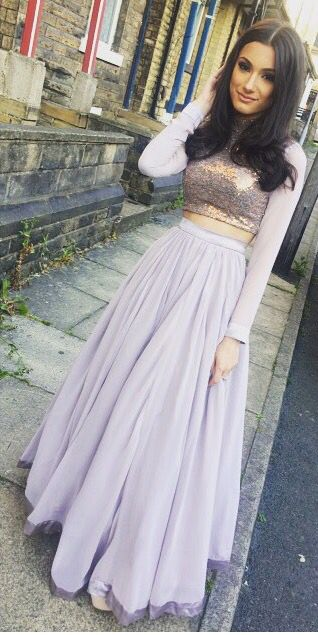 Pech Pink Long Sleeve Prom Dresses