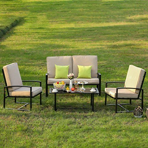 Wensltd Clearance 4 Pieces Home Outdoor Living Single Chair Double Chair  Coffee Table Garden Set, Full, Black (FAST SHIPPING from US) - Wensltd Clearance 4 Pieces Home Outdoor Living Single Chair Double