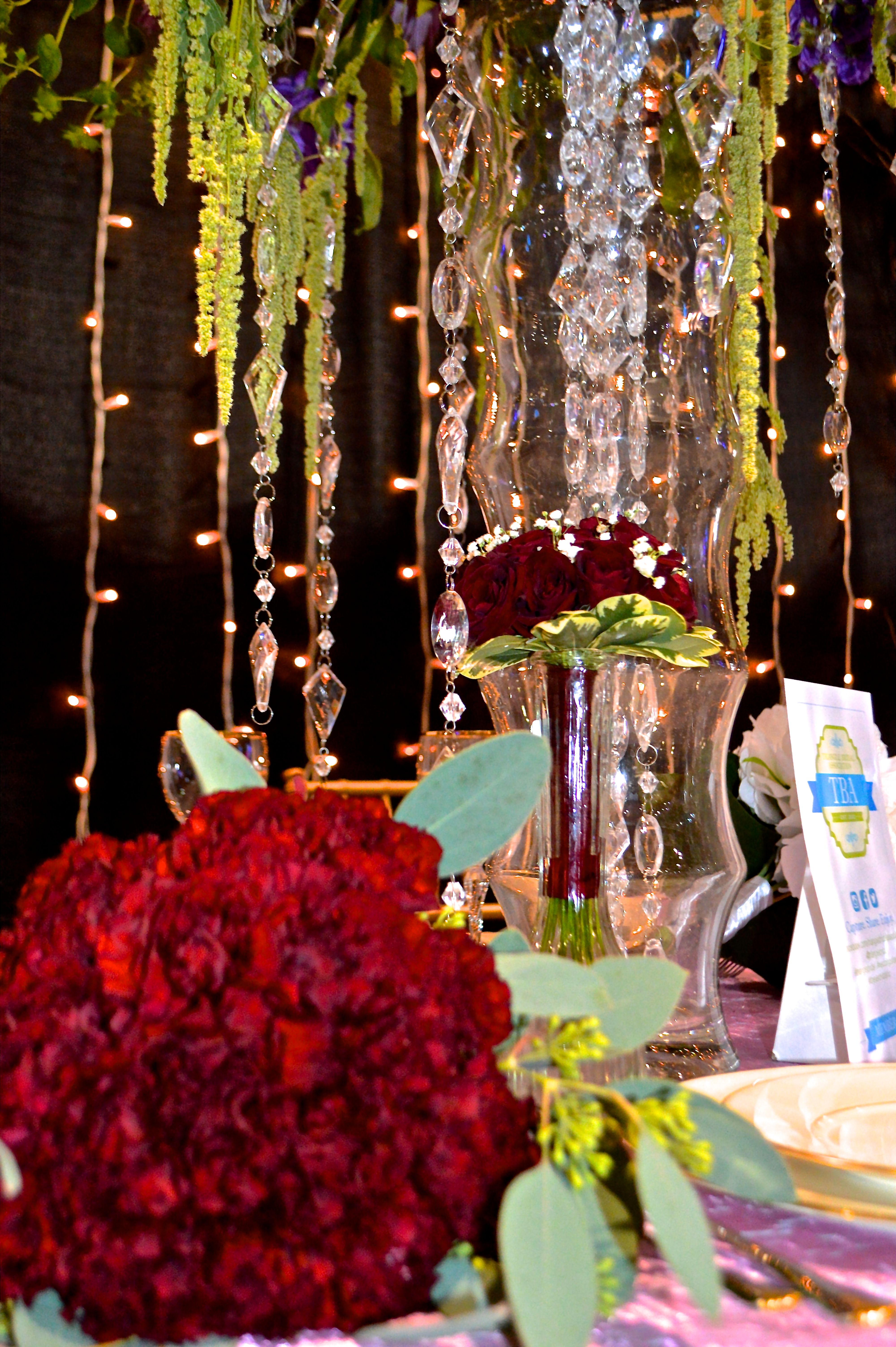 Bouquets on North Raleigh Florists table at the Forever Bridal Show