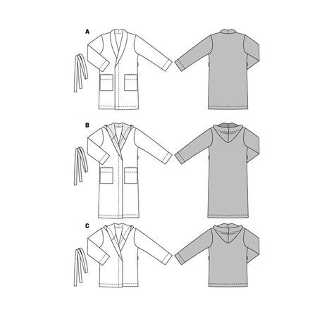 Motifs de coupe BURDA Style No 6740 robe de chambre-Col châle-capuche