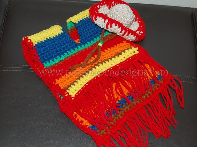 Instant Download Crochet pattern - Dog Sombrero and Poncho set for Small Dogs- Great for Cinco De Mayo