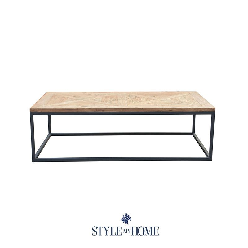 Frankie 1 5m Parquet Wood Amp Metal Rectangle Coffee Table