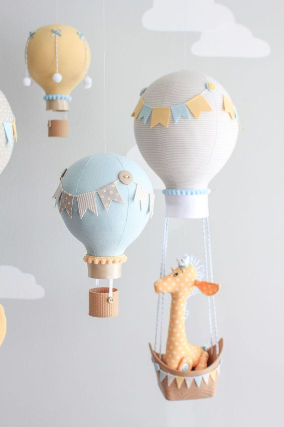 Hot Air Balloon Baby Mobile Giraffe And Elephant Nursery Decor Travel Theme Nursery Elephant Nursery Decor Diy Baby Shower Decorations Decoracion Baby Shower