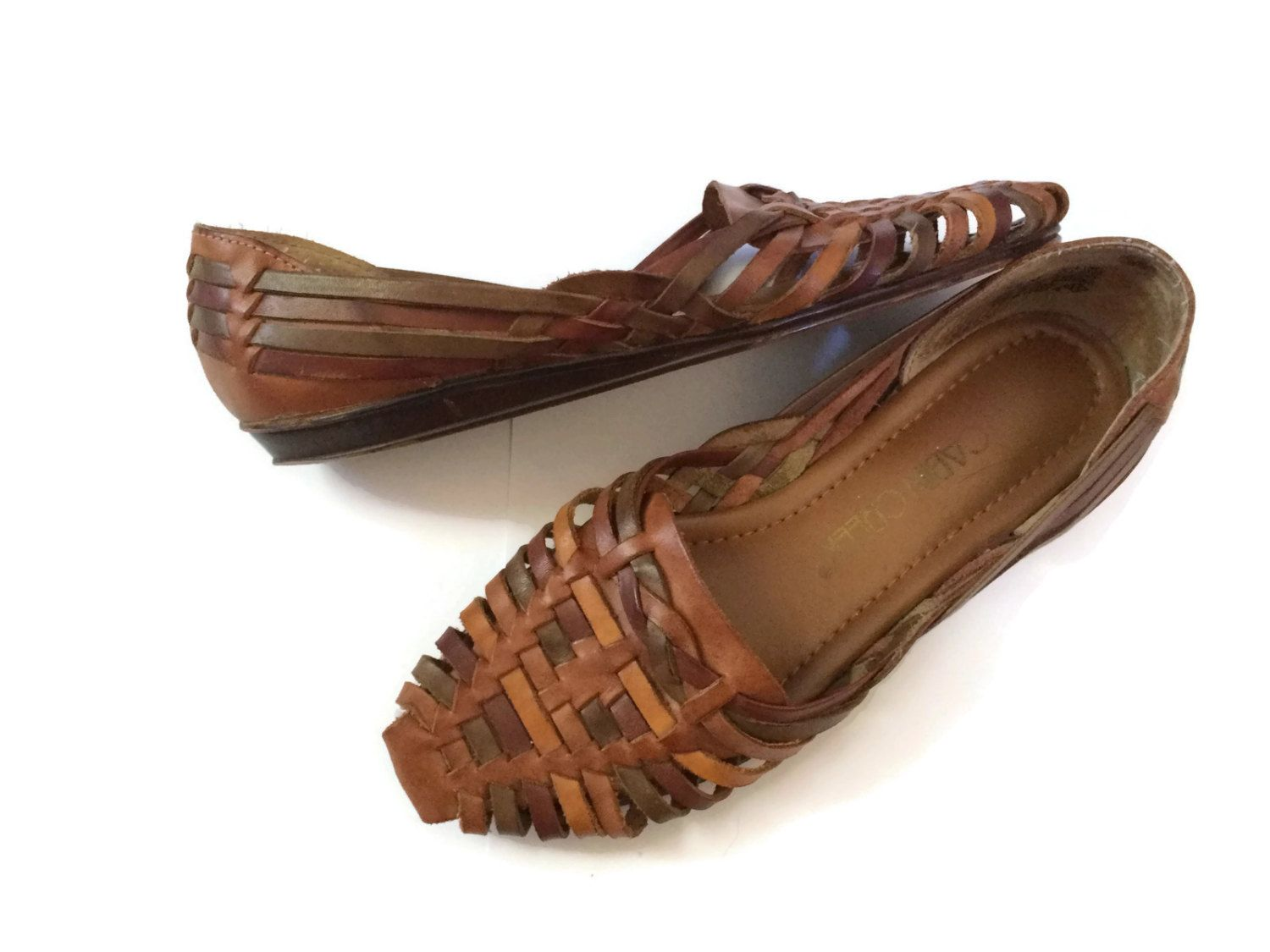 a80deff39 Huarache Sandals Woven Leather Size 6.5 6 1 2 90s Flats Summer Shoes Brown  Braided Mini Wedge Heel Boho Hippie Hipster by GoodLuxeVintage on Etsy