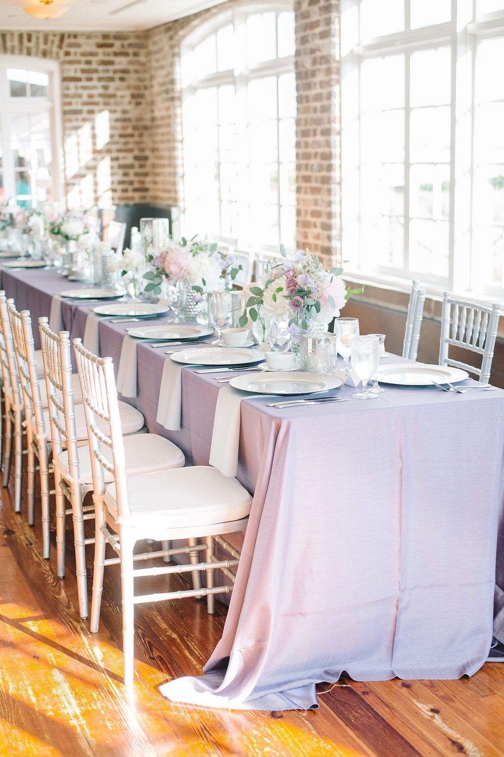 Silver Chiavari Chairs Purple Smoke Shantung For Head Table Soft Elegant Wedding At The Historic Rice Mill Chiavari Chairs Silver Chiavari Chairs Rice Mill
