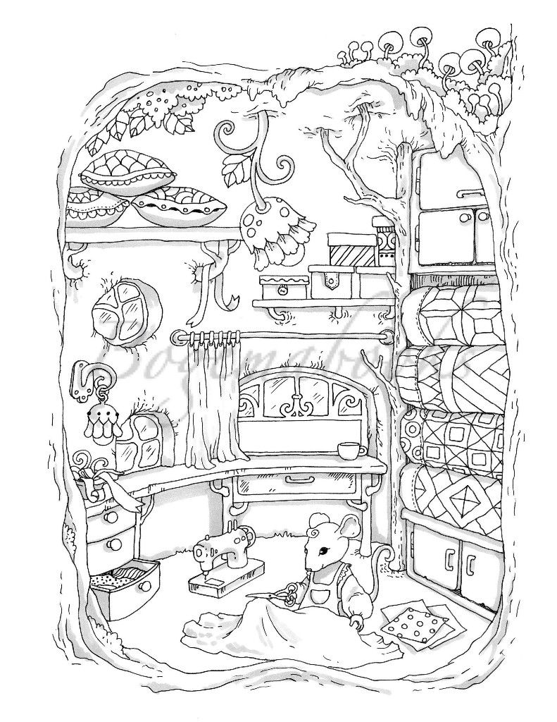 Sewing decor print Coloring books, Cute coloring pages