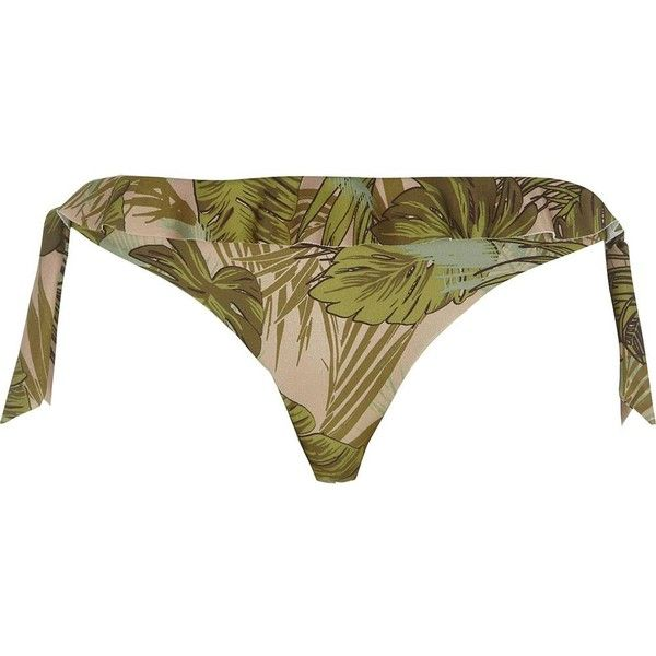 10f613993878f Green leaf frill tie side bikini bottoms ( 29) ❤ liked on Polyvore  featuring swimwear