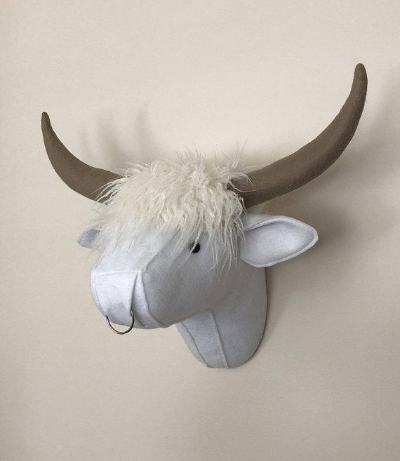 Highland Cow Faux Taxidermy Felt Wall Mount Faux Taxidermy Cow Felt