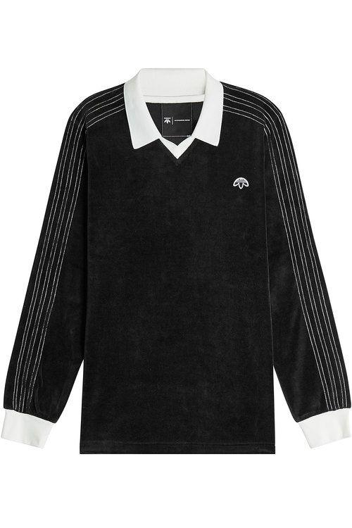 195118735999 ADIDAS ORIGINALS BY ALEXANDER WANG Velour Long-Sleeve Polo Shirt.   adidasoriginalsbyalexanderwang  cloth